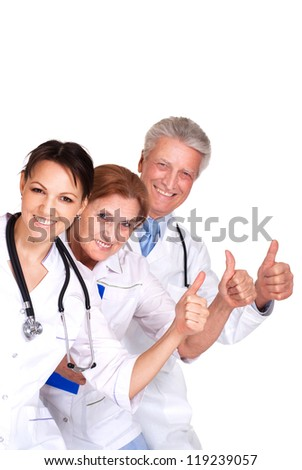 nice Caucasian doctor standing on a white background