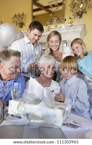 Nice caucasian family celebrating together