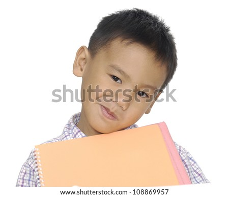 Nice child with card for text isolated