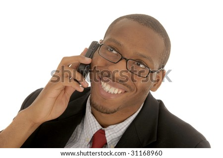 Nice clean Image of a Afro American Businessman on White