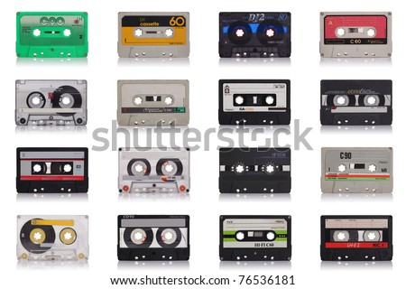 nice collection of old music cassette isolated on white background