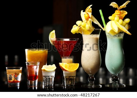 nice color drinks on the wooden bar