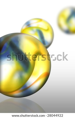 nice coloured marbles on a bright background