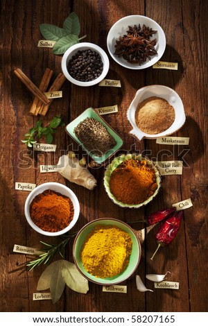 Nice composition of different spices with german labels - stock photo
