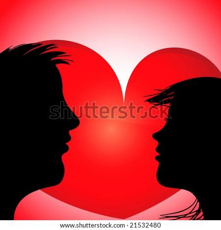 in love silhouette. couple in love silhouette