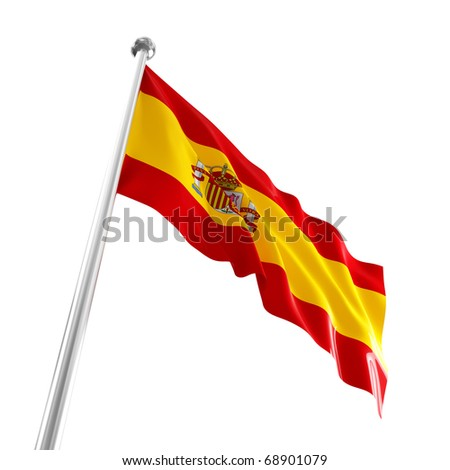 nice 3d waved flag of spain isolated on white