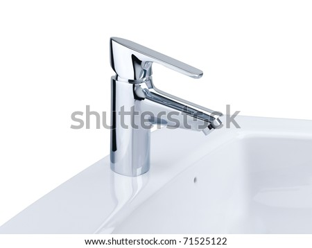 nice design of the chrome faucet and white basin