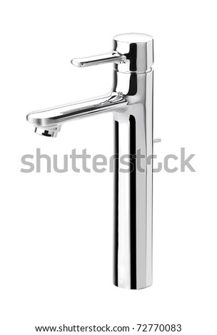 Nice design of the stainless steel faucet isolated on white