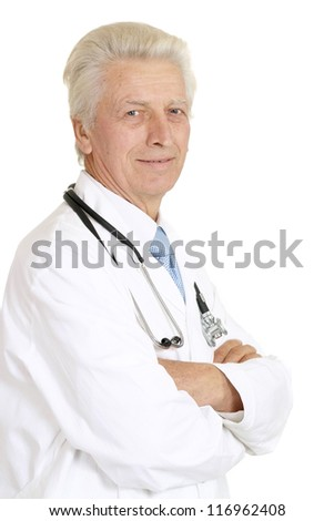 Nice doc in a white coat with a stethoscope - stock photo