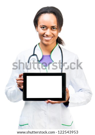 Nice Doctor shows a digital tablet isolated on white background