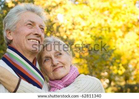 nice elderly couple in a autumn park