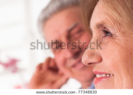 nice elderly couple on a white background
