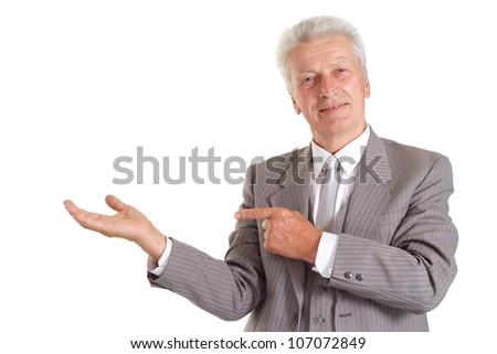 Nice elderly man in suit on white background