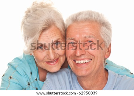 nice elderly together on a white