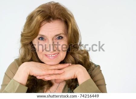 nice elderly woman on a blue background