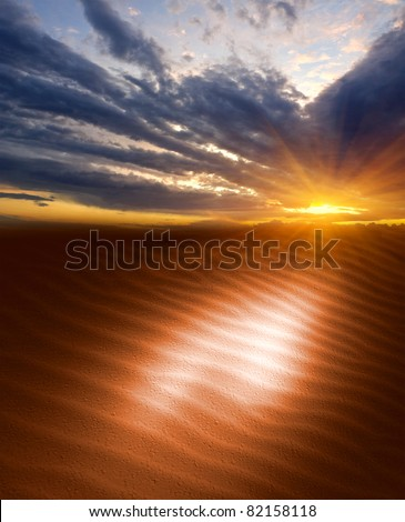 Nice evening scene with Sunset in sands - stock photo