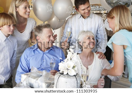Nice family celebrating together