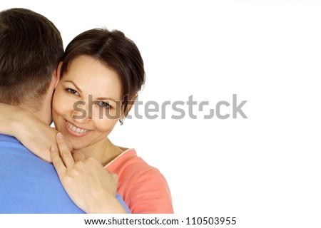 Nice family having fun in bright T-shirt on a white background