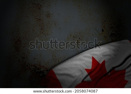nice feast flag 3d illustration - dark picture of Canada flag with large folds on rusty metal with empty place for your text Foto stock ©