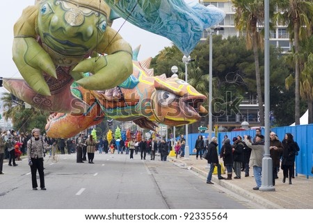 """NICE - FEBRUARY 27: Carnival of Nice on February 27, 2011 in French Riviera. This is the main winter event of the Riviera. 2011 theme is the """"King of Mediterranean Sea""""."""