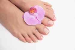 Nice female feet in perfect pedicure and ink orchid isolated on white background.