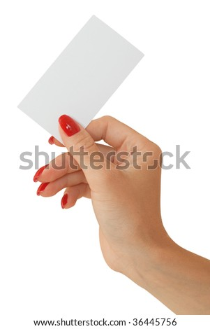 Nice female hand holding a blank business card - stock photo