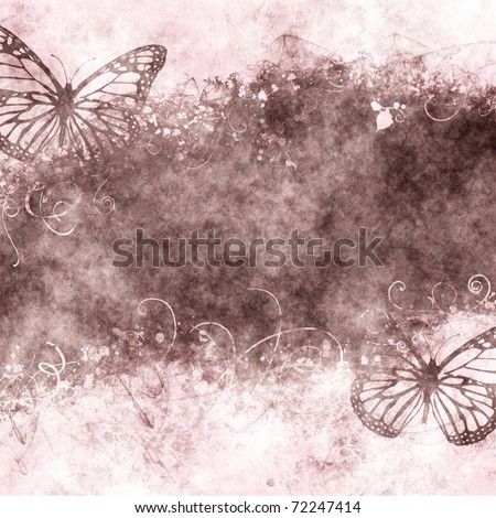 nice floral grunge illustration with butterflies on old parchment .old paper with floral pattern