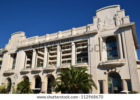 NICE, FRANCE - SEPTEMBER 15: Mediterranean Palace Hotel facade shown on September 15, 2012 in Nice, France. Mediterranean Palace hotel containing 187 rooms and 14 suites, on the Englismen Walkway.