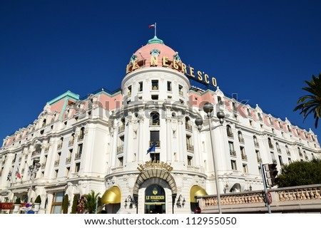 NICE,FRANCE-SEPTEMBER 15: Negresco palace facade shown on september 15, 2012 in Nice, France. Negresco hotel is a luxury hotel containing 121 rooms and 24 suites, located in the famous carnival town.