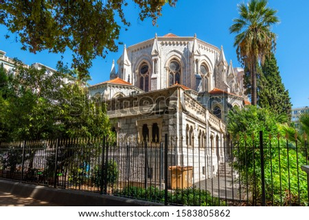 Nice, France - September 24 2019: The rear of the Neo-Gothic Notre Dame Cathedral in Nice, France.