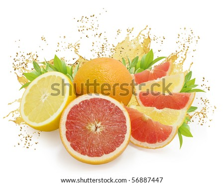 Nice fresh citrus fruits with green leaves and juice drops isolated on white - stock photo
