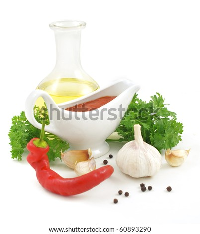 nice fresh sauce ingredients isolated on white background