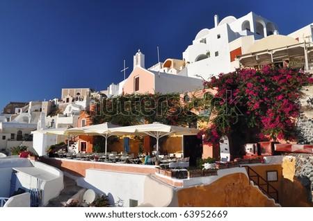 Nice garden in Oia, Santorini, Greece