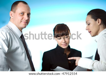 Nice girl and men with women on blue background