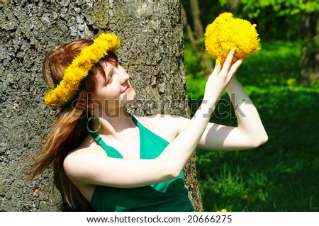 stock photo nice girl hold bouquet from dandelion