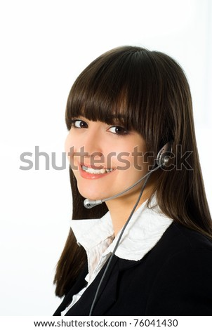 nice girl in a black business suit with a white background