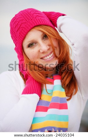 Nice girl wearing vibrant winter clothing