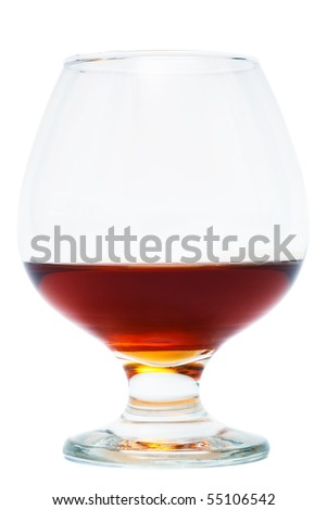 nice glass of cognac on a white background