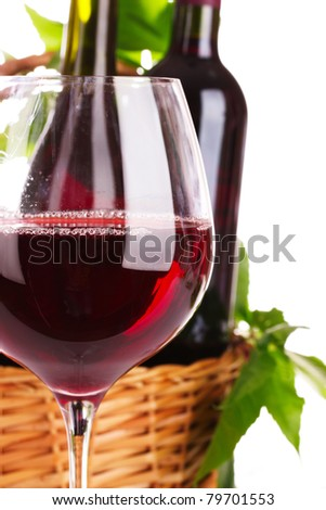 nice glass of red wine against the basket