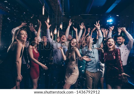 Nice gorgeous attractive glamorous elegant chic trendy stylish cheerful glad positive girls and guys having fun free time bachelor in modern fashionable luxury place night-club indoors