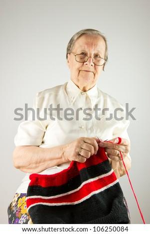 Nice grandmother knitting