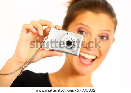 Nice happy young women is taking pictures