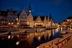 Nice houses in the old town of Ghent in the evening, Belgium.