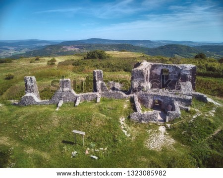 Nice Hungarian castle ruins from a Csobanc hill, near the Lake Balaton, aerial drone picture