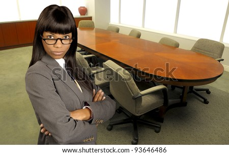 Nice image Of a large boardroom office and Business woman with copy Space for text