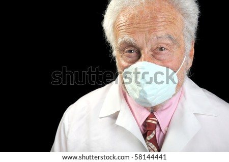 Nice Image of a senior doctor with a mask on