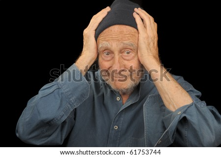 Nice Image of a senior man confused - stock photo