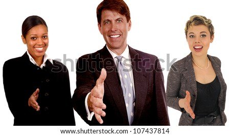 Nice Image of a successful Business Team On White - stock photo