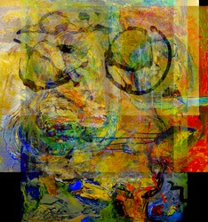 Nice Image of an Abstract Painting On Glass in Verso