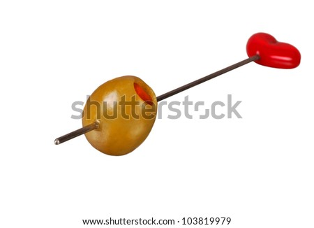 Nice Isolated Image of a Martini Olive on a Skewer